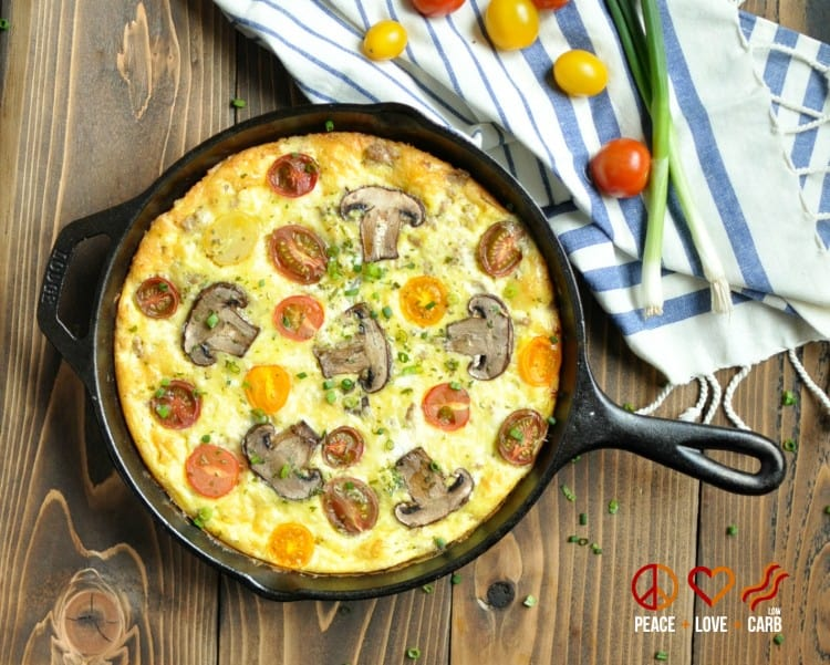 Sausage and Sharp White Cheddar Heirloom Tomato Frittata | Peace Love and Low Carb