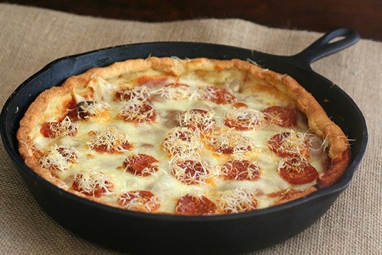 Low Carb Deep Dish Skillet Pizza