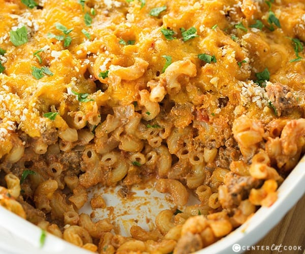Cheesy Macaroni and Beef Casserole - 50 Easy Weeknight Casserole Recipes | Healthy Living in Body and Mind