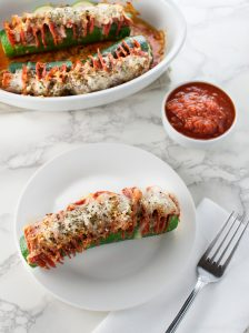 Hasselback Zucchini Pepperoni Pizza - Low Carb, Gluten Free | Peace Love and Low Carb