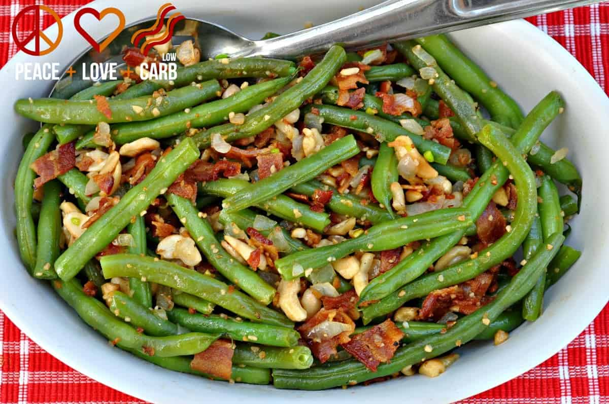 Cashew Green Beans with Bacon - Low Carb, Gluten Free, Paleo