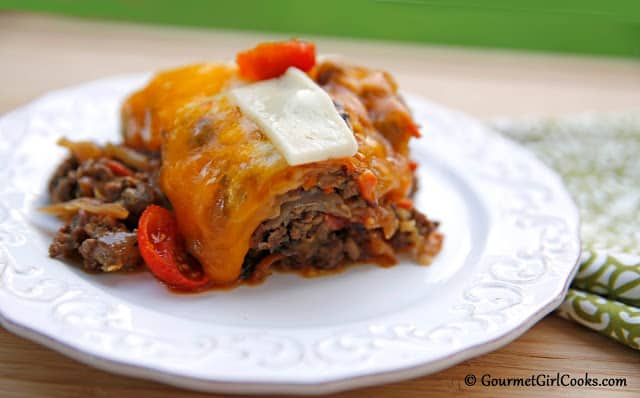 Cheesy Beef and Cabbage Bake | Gourmet Girl Cooks