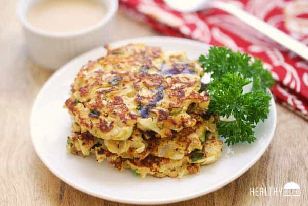 Cabbage Pancakes with Spicy Dipping Sauce | Healthy Recipes Blog