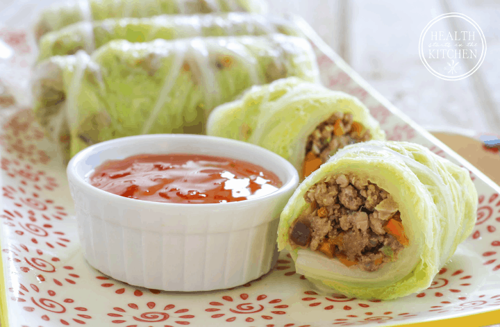Napa Cabbage Wrapped Shiitake Pork Rolls | Health Starts in the Kitchen