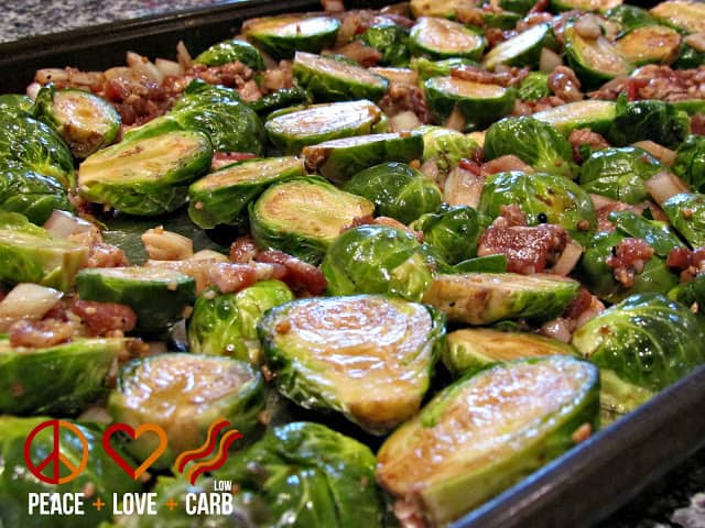 Balsamic Brussels Sprouts with Maple Bacon | Peace Love and Low Carb