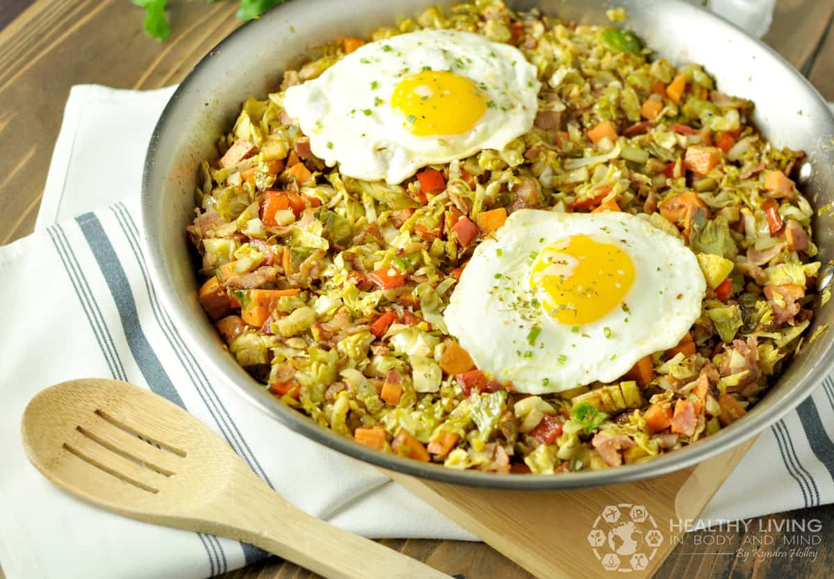 Brussels Sprouts, Sweet Potato, and Bacon Hash | Healthy Living in Body and Mind