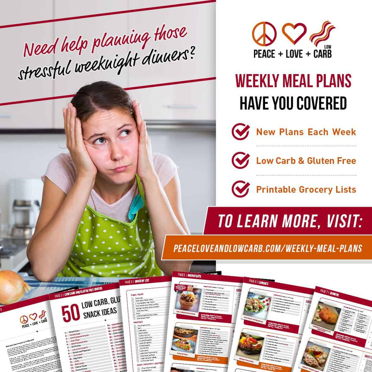 Low Carb and Gluten Free Weekly Meal Plans | Peace Love and Low Carb