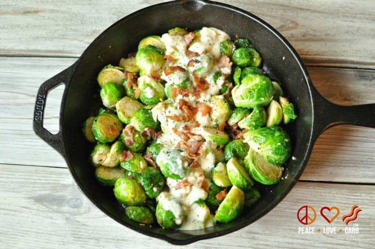 Skillet Roasted Bacon Brussels Sprouts with Garlic Parmesan Cream Sauce | Peace Love and Low Carb