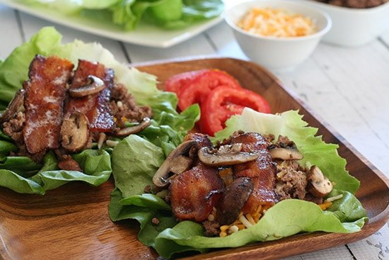 Bacon Mushroom Cheeseburger Lettuce Wraps | All Day I Dream About Food