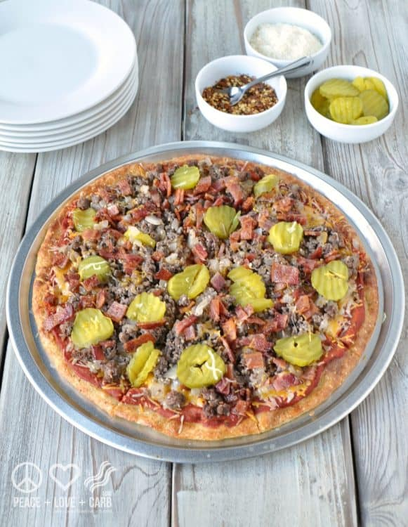 Bacon Cheeseburger Pizza - Low Carb, Gluten Free | Peace Love and Low Carb