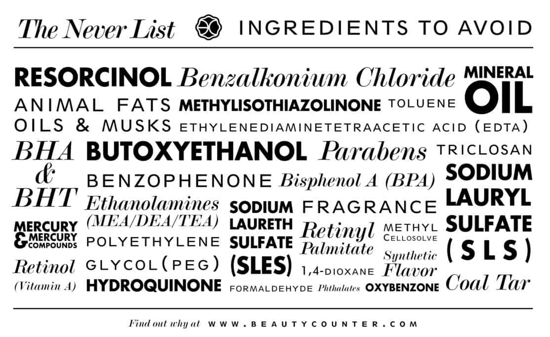 Beautycounter - The Never List | Healthy Living in Body and Mind