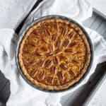 overhead shot of a whole sugar free pecan pie