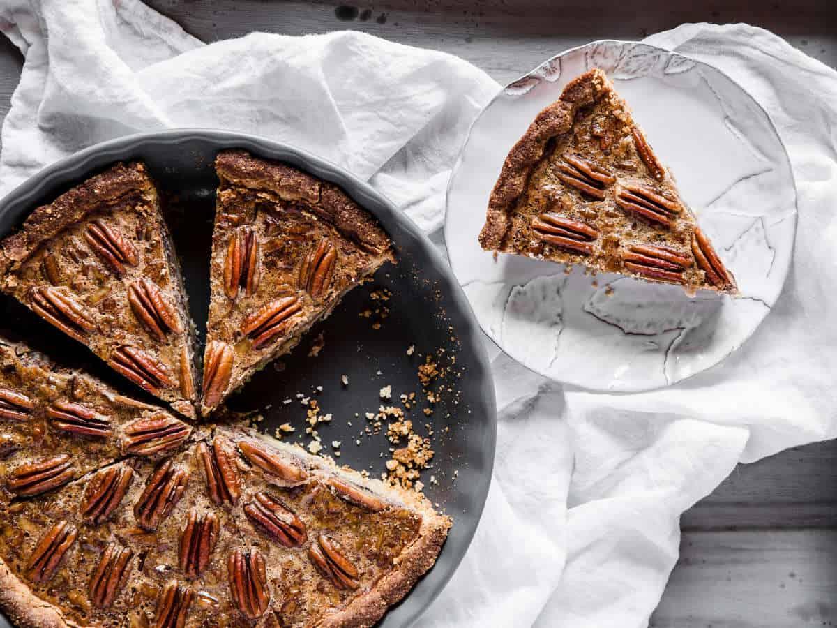 overhead shot of keto pecan pie