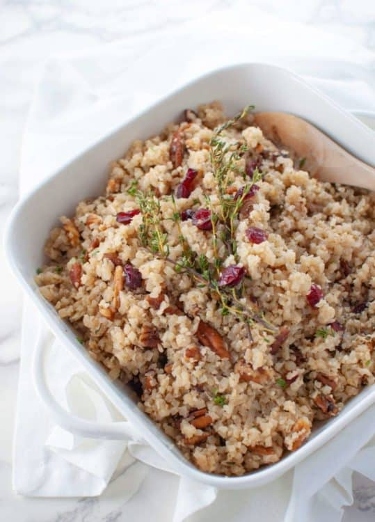 Cranberry Pecan Cauliflower Rice Low Carb Stuffing | Peace Love and Low Carb