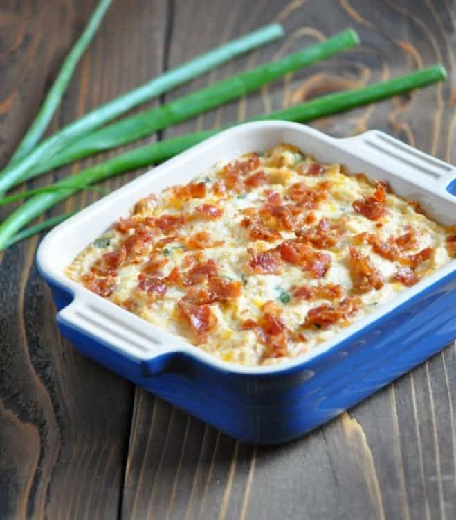 Low Carb Loaded Baked Cauliflower Casserole | Peace Love and Low Carb