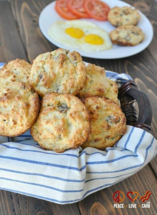 Keto White Cheddar Sausage Breakfast Biscuits | Peace Love and Low Carb
