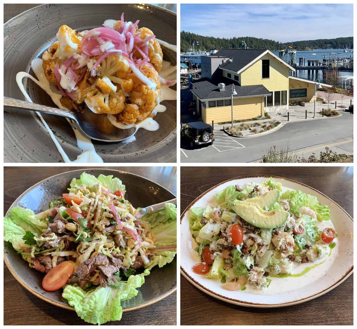 Plates of Keto-friendly food at Downriggers on San Juan Island