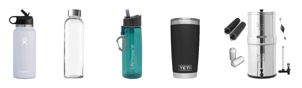 Hydroflask insulated stainless steel water bottle, 18 ounce glass beverage bottles, Lifestraw water bottle with built in water filter, Berkey water filtration system, Yeti insulated travel coffee mug