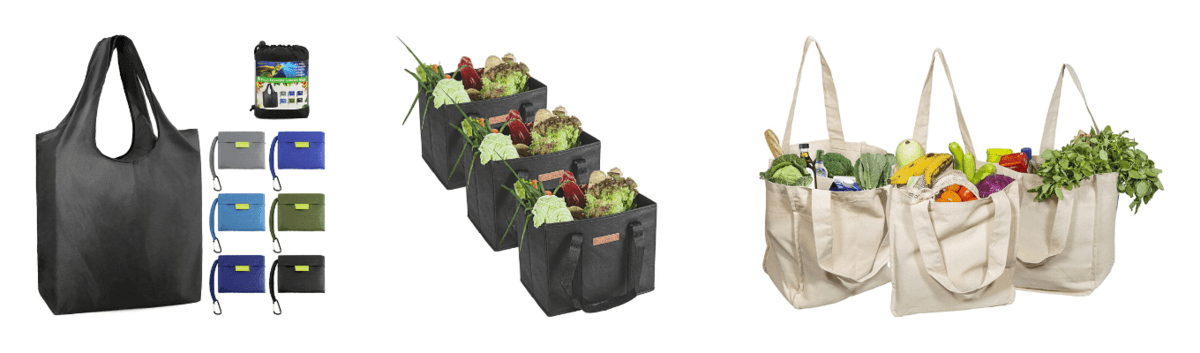 Reusable Foldable Polyester Shopping Totes with Storage Pouches, Reusable Reinforced Bottom Foldable Totes, Reusable Canvas Grocery Bags