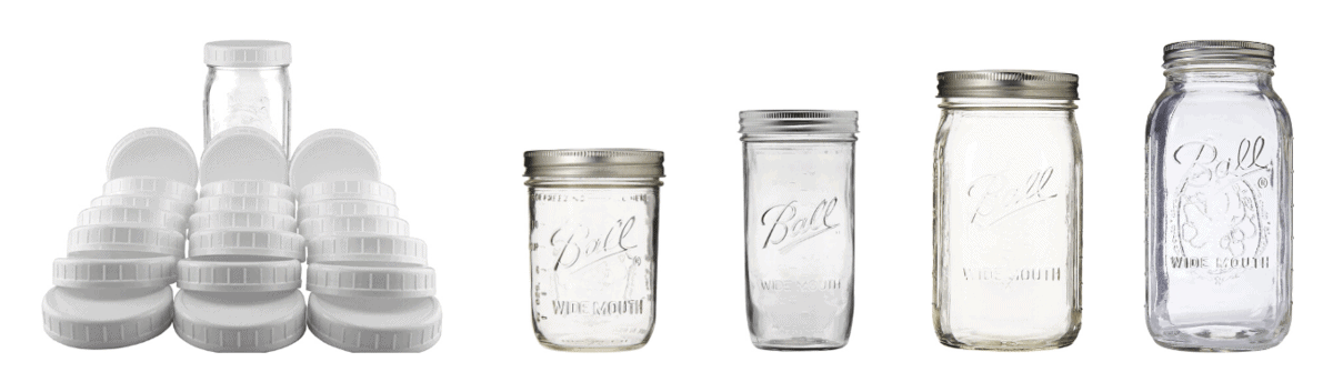 White wide mouth mason jar lids, 16 ounce wide mouth mason jars, 24 ounce wide mouth mason jars, 32 ounce wide mouth mason jars, 64 ounce wide mouth mason jars