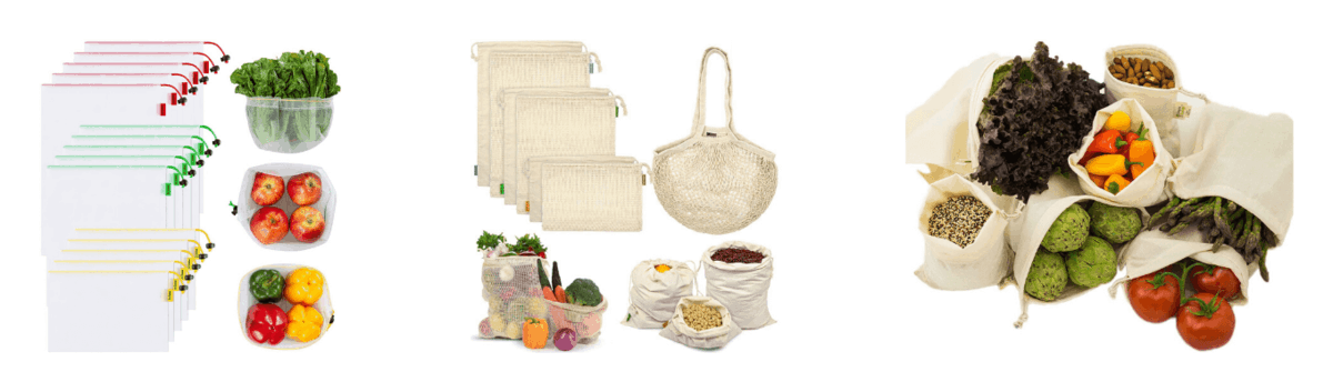 Ecowaare Mesh Produce Bags, Reusable Organic Cotton Produce Bags, Organic Cotton Muslin Produce Bags
