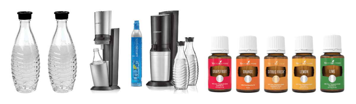 Soda Stream glass carafes, Soda Stream Aqua Fix Sparkling Water Maker, Citrus essential oils