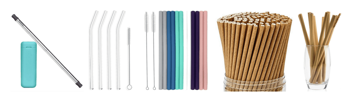 Collapsible Stainless Steel Straw with Carrying Case, Glass Straws with Cleaning Brush, Silicone Straws with Cleaning Brush, Reusable Bamboo Straws, Biodegradable Paper Straws