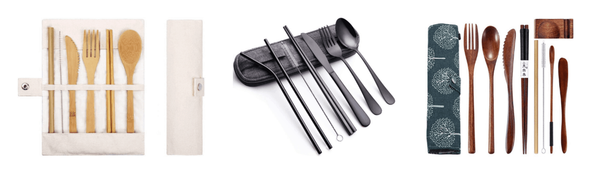 Portable bamboo utensil set, Portable stainless steel flatware set, Portable wooden utensil set with carrying case
