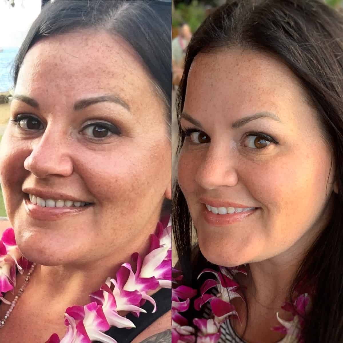 Side by side before and after photo: on the left, a selfie of Kyndra Holley before using the Overnight Resurfacing Peel. On the right, in the after photo, Kyndra's skin is glowing and more even toned, with a reduction in fine lines.