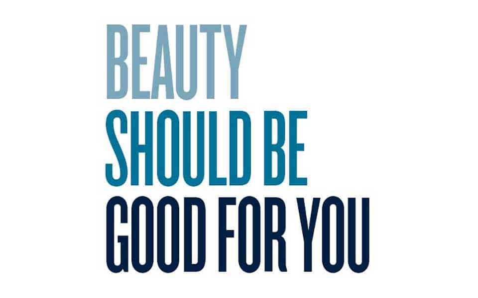 Text image: BEAUTY SHOULD BE GOOD FOR YOU with the text fading in ombre blue hues from light to dark.