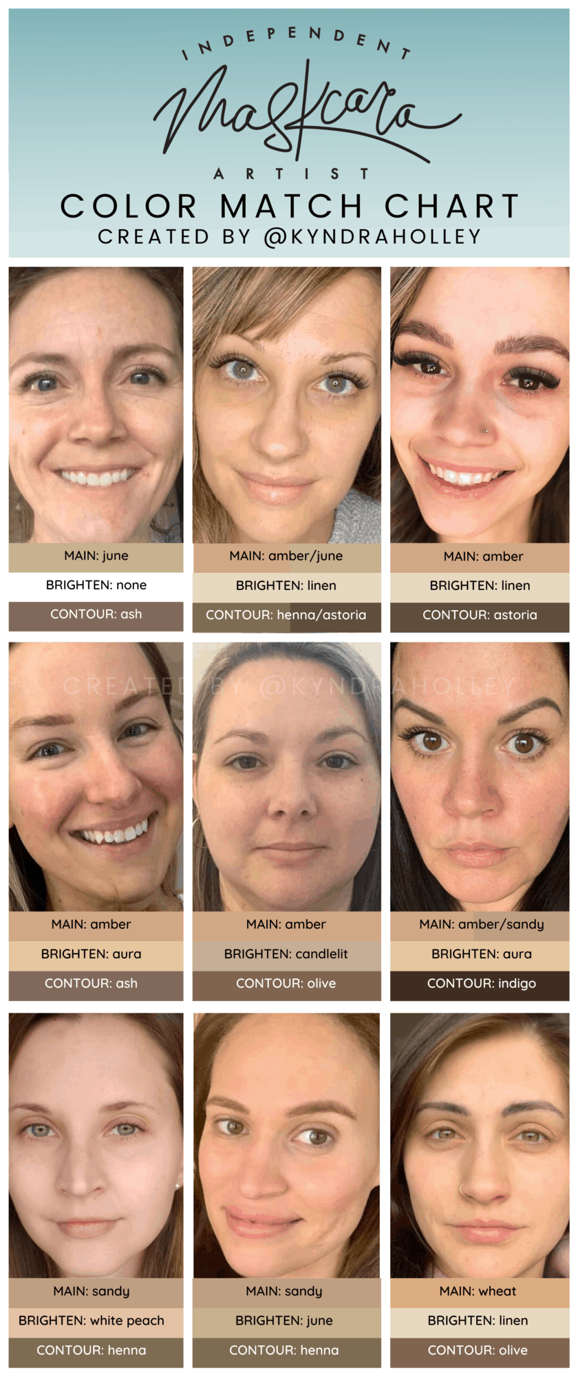 "A portrait orientation graphic with a light teal ombre fade. At the top of the image, the text reads ""Independent Maskcara Artist."" Within the image are 9 selfies of women with medium skin tones and their respective color match."