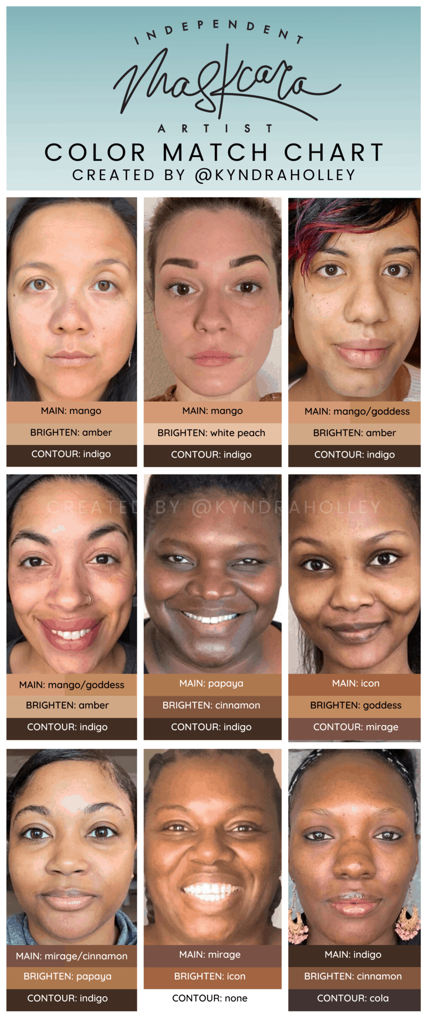 "A portrait orientation graphic with a light teal ombre fade. At the top of the image, the text reads ""Independent Maskcara Artist."" Within the image are 9 selfies of women with tan and deep skin tones and their respective color match."