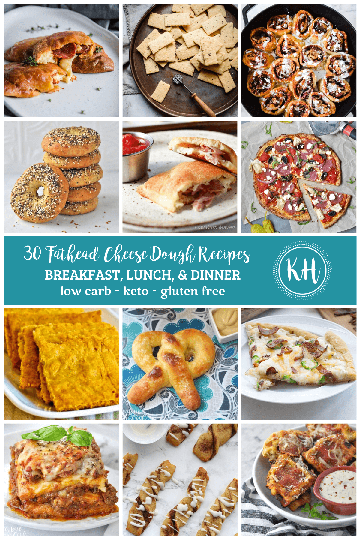 12 square images of fathead cheese dough recipes, stacked with a light teal banner in the center.