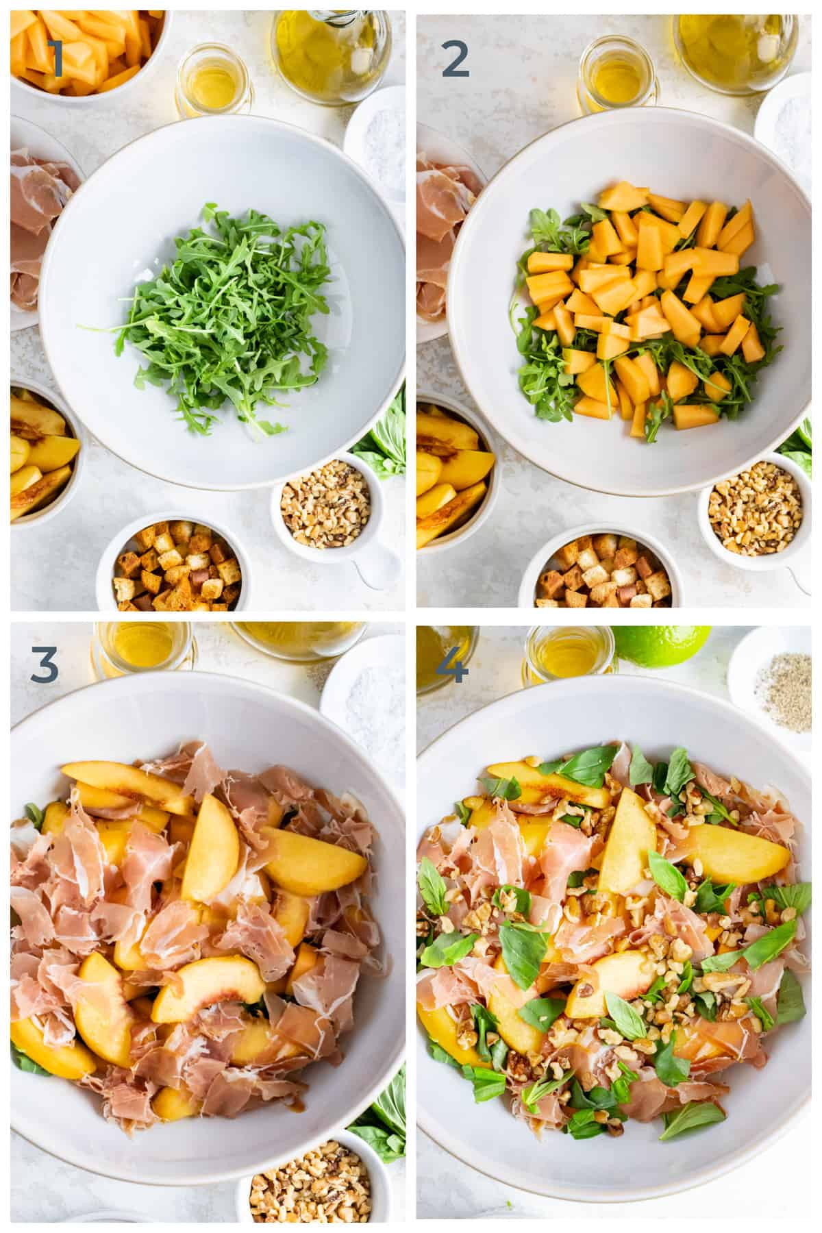 Step by step photos of a prosciutto, peach and melon salad being made