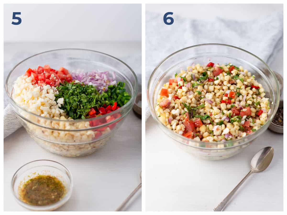 ingredients for corn salsa in a bowl - corn, tomato, peppers, garlic, lime, onion, cumin, salt
