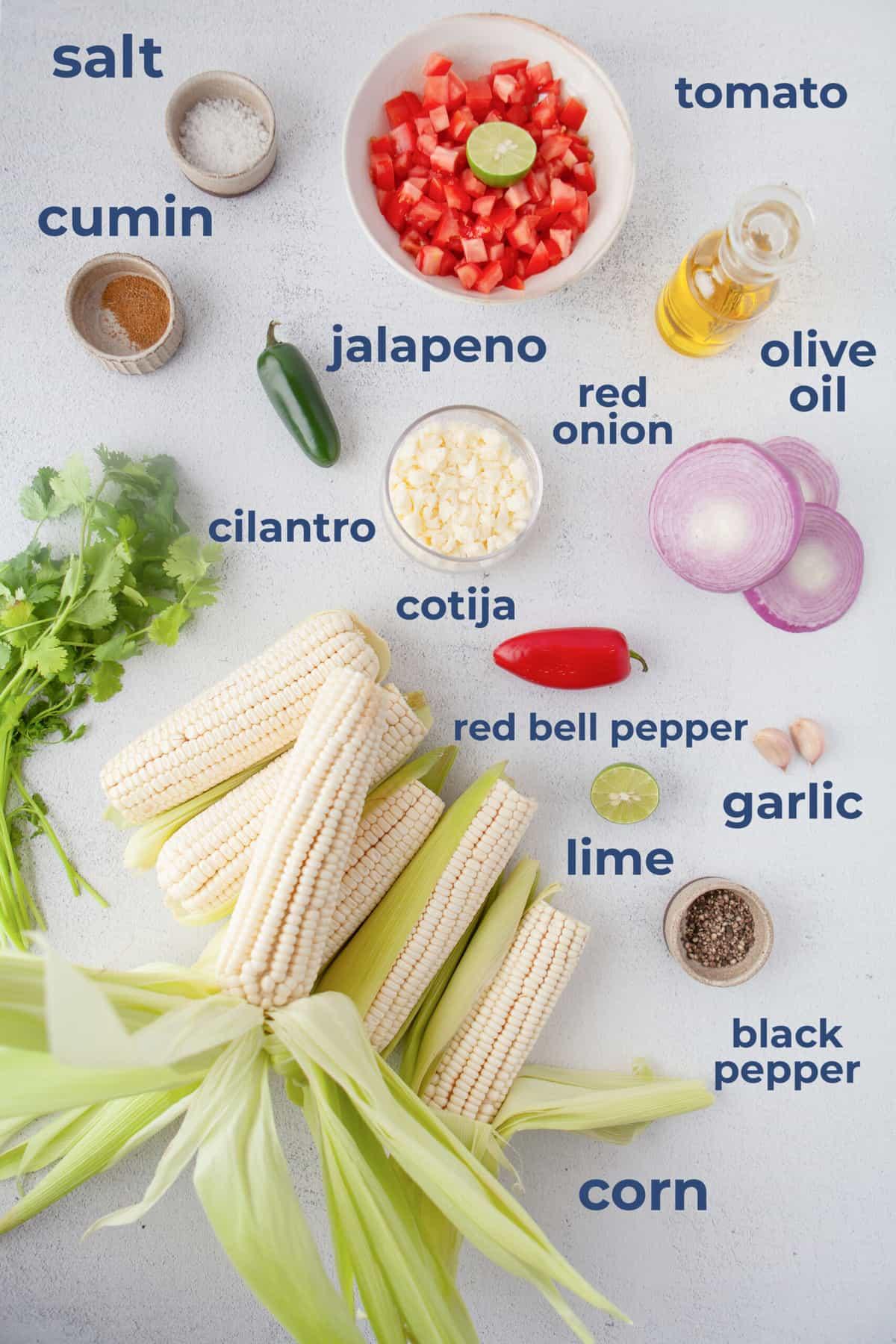 Ingredients for corn salsa - corn tomato, peppers, garlic, cheese, cilantro, limes, garlic cumin