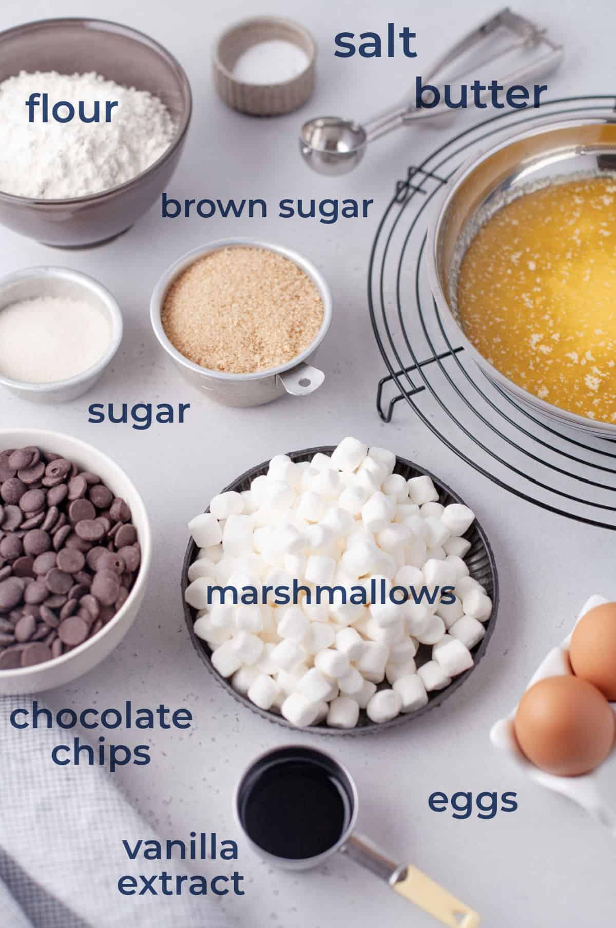 Ingredients for chocolate chip cookies - flour, eggs, chocolate chips, butter, sugar