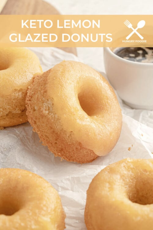 gluten free lemon donuts on parchment paper, served with espresso
