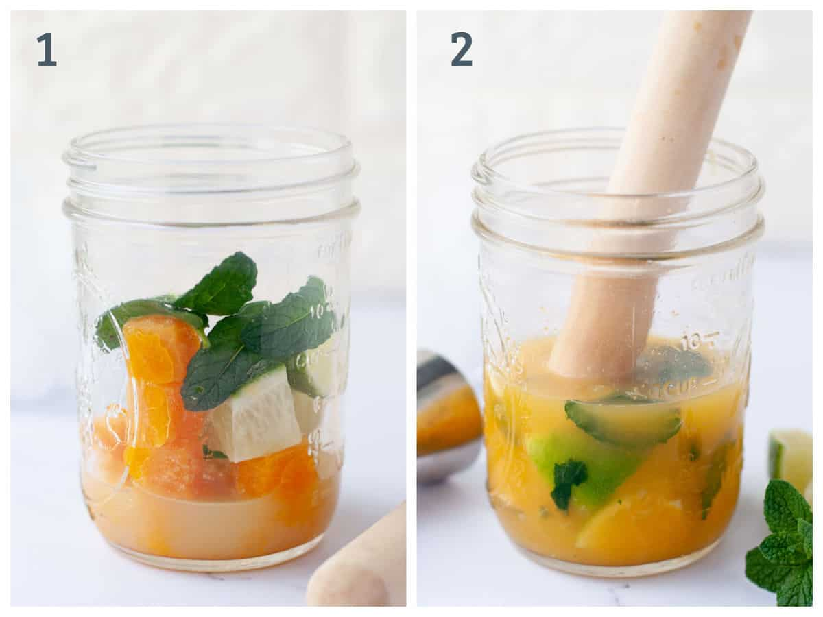 Step by step instructions for how to make homemade passion fruit mojitos