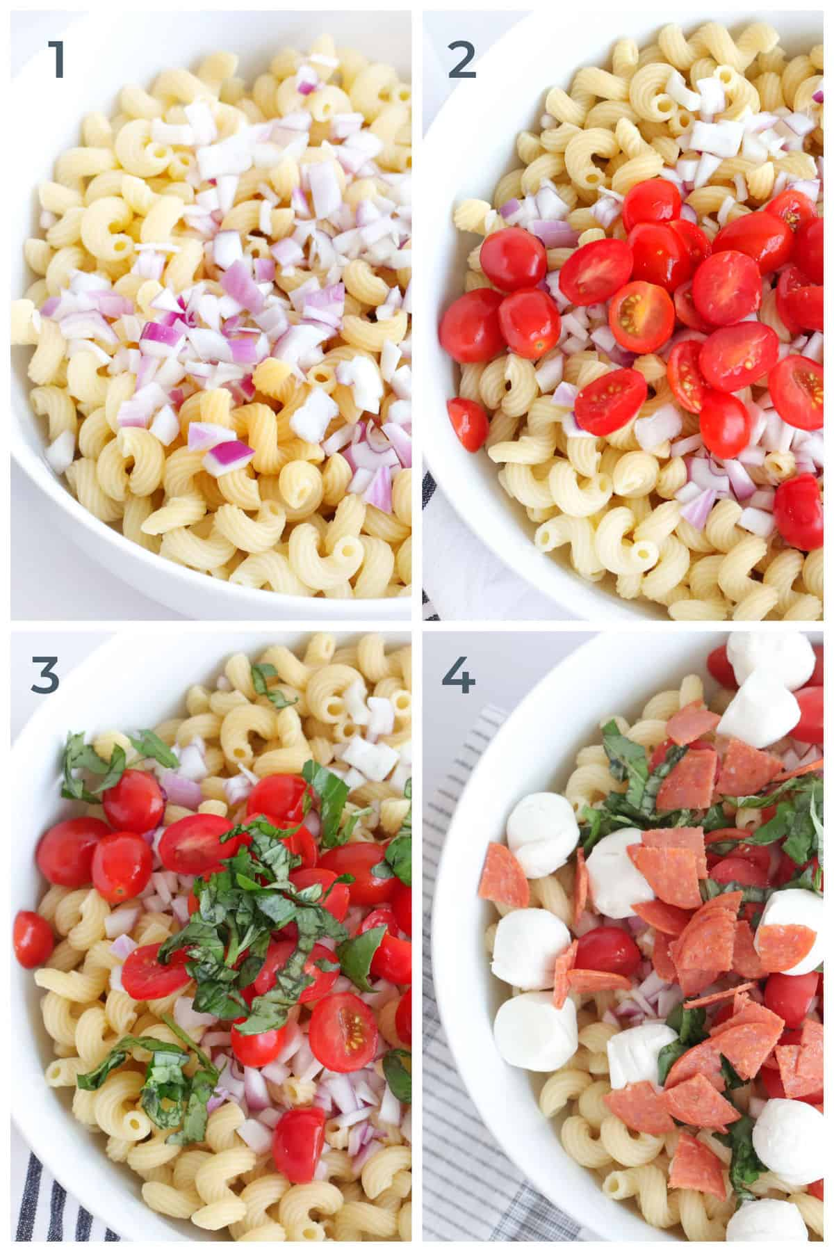 Step by step instructions for making Pepperoni Caprese Salad - pasta, pepperoni, basil, mozzarella, red onion