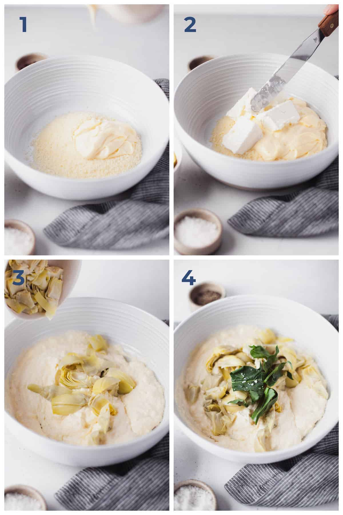 Step by Step Instructions for making Spinach and Artichoke Dip
