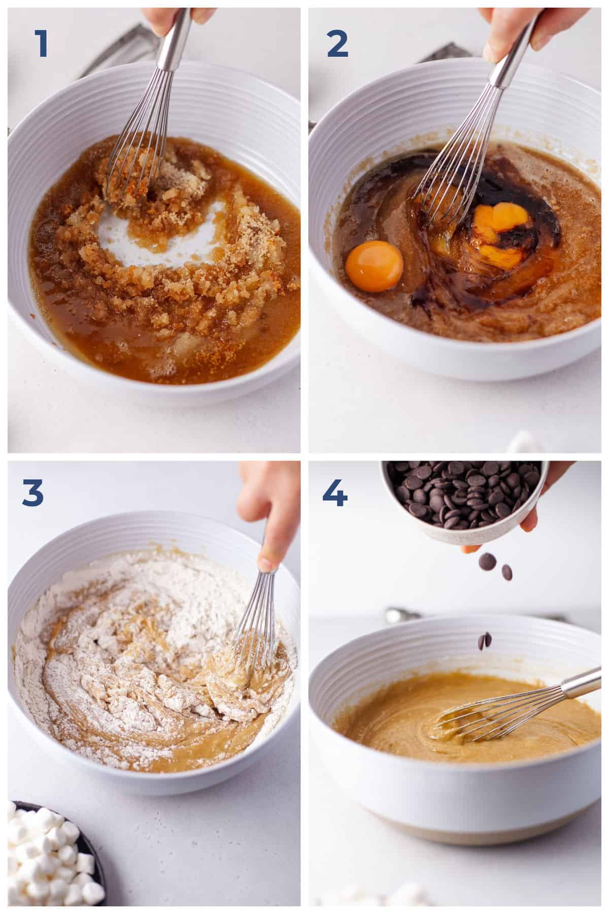Step by Step Instructions for making Chewy Marshmallow Chocolate Chip Cookies