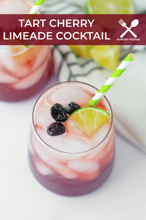 refreshing summer cocktail with tart cherry juice, lime juice, soda water and vodka, served with fresh lime wedges