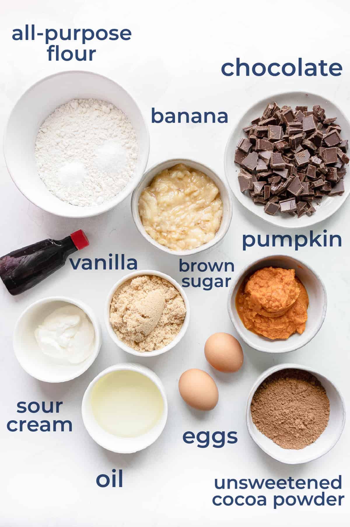 ingredients laid out, eggs, flour, chocolate chips, pumpkin, brown sugar, vanilla, cocoa powder