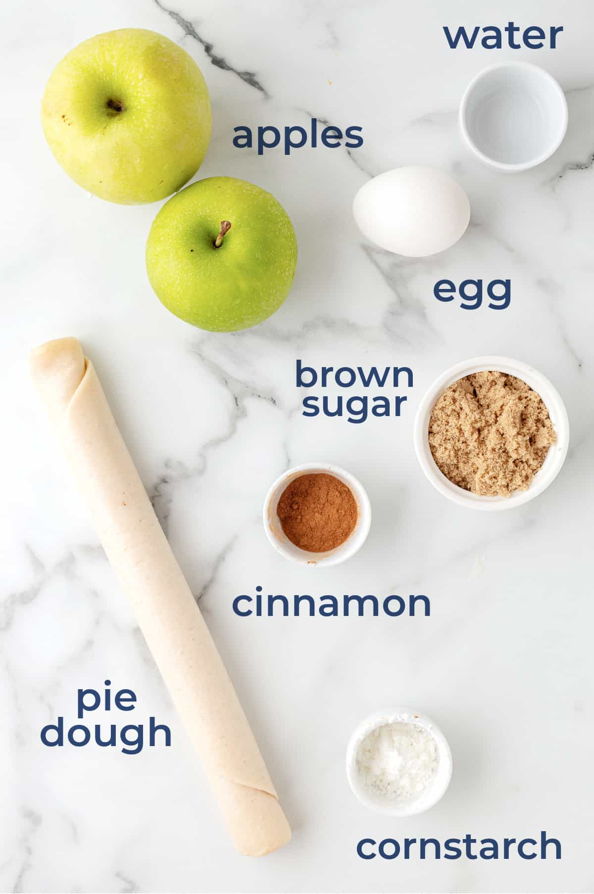 Ingredients to make homemade mini apple pies in the air fryer