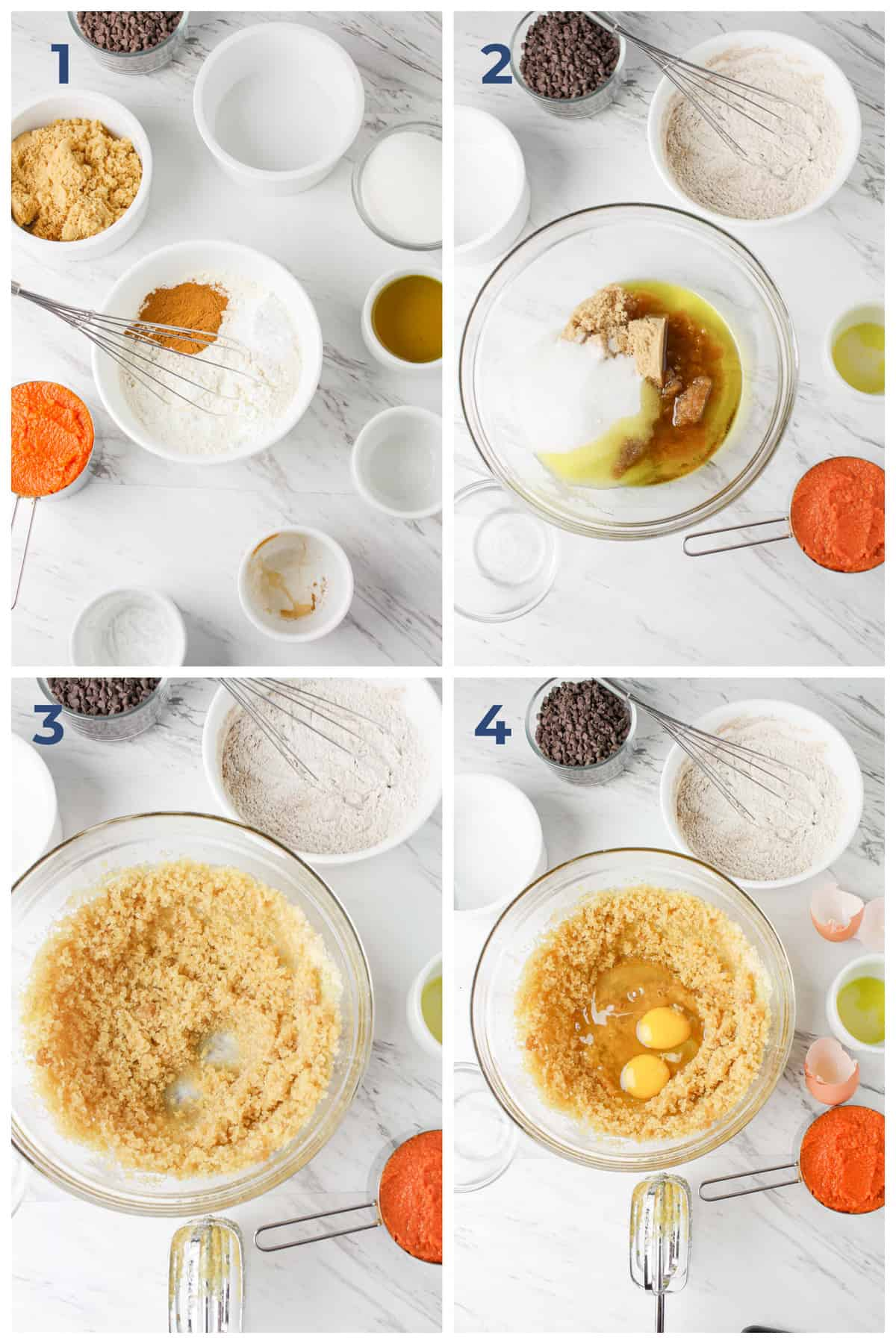 step by step ingredients on how to make gluten free pumpkin chocolate chip muffins   Hungry Foodie