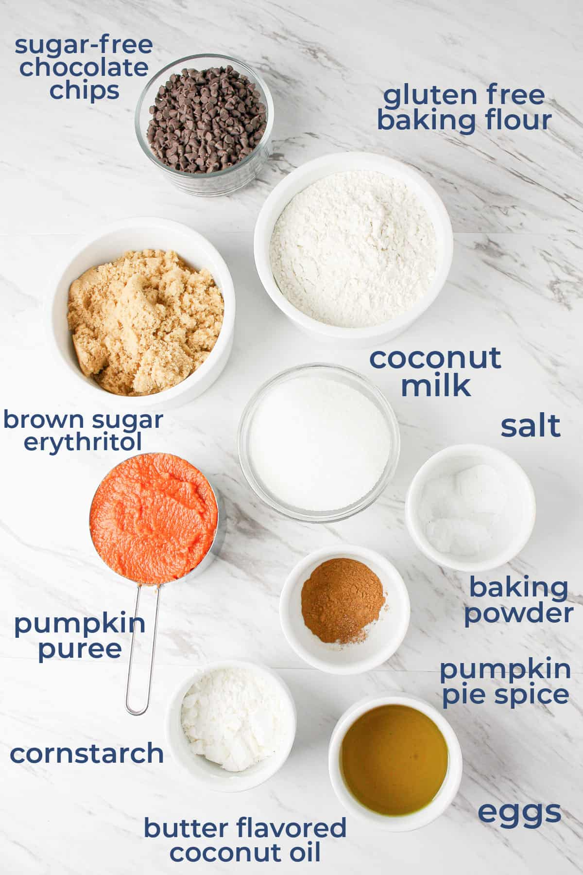 ingredients laid out in individual bowls to make gluten free pumpkin muffins