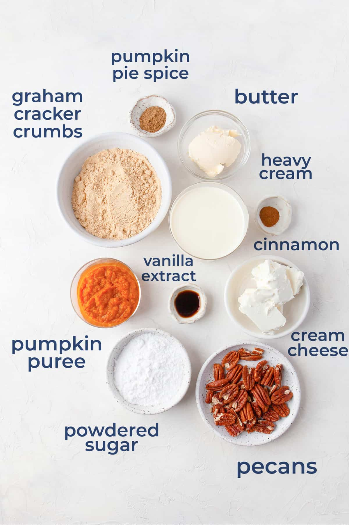 Ingredients laid out to make a homemade pumpkin spice mousse