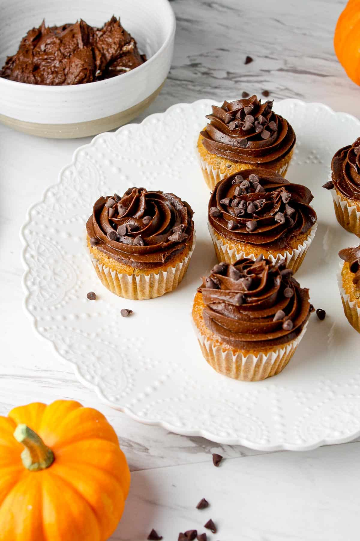 Gluten Free Pumpkin Cupcakes with Chocolate Frosting   Hungry Foodie