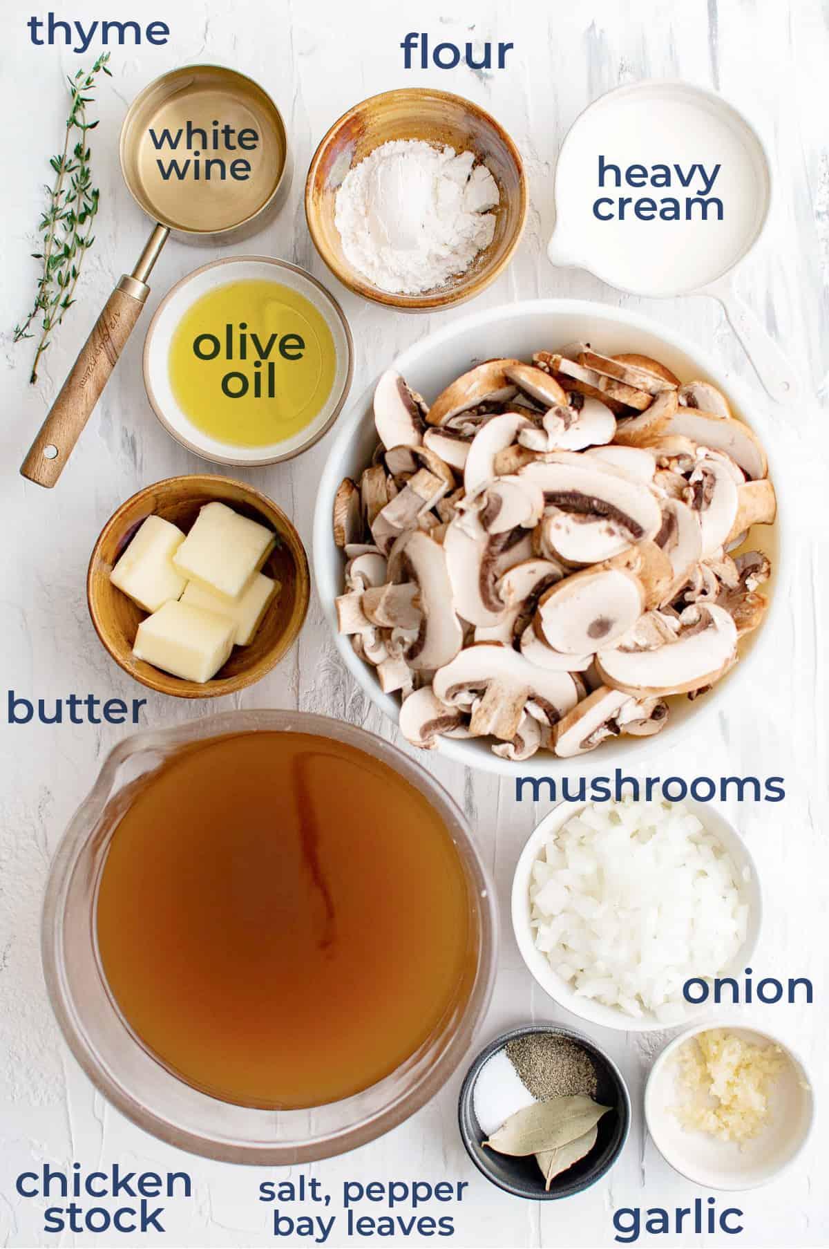 mushrooms, cream, onion, garlic, thyme, white wine, chicken stock, seasonings, butter all in separate bowls